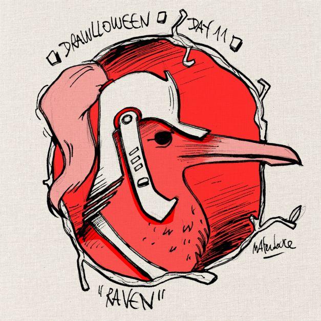 Drawlloween #11 - Raven crow corbeau
